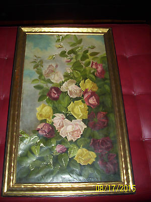 19th century painting signed floral roses large rare 1890 vintage