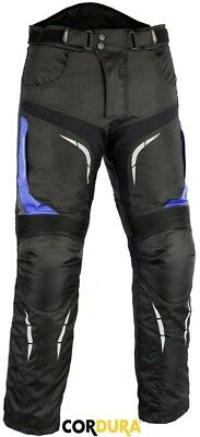Blue / Black Mens Ce Armour Vented Motorbike / Motorcycle Textile Trousers