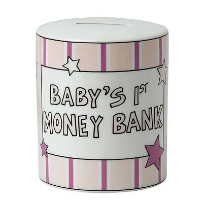 Our Name is Mud A27393 Babys First Money Bank Pink