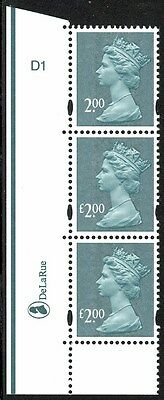 """GB #MH322a - £2.00 Machin - Strip of 3 Missing """"£ on Top Stamp - NH"""