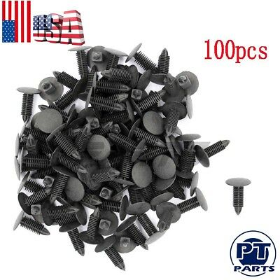 100pcs Auto Car Black Plastic Rivets Fastener Door Clips for 7mm Hole