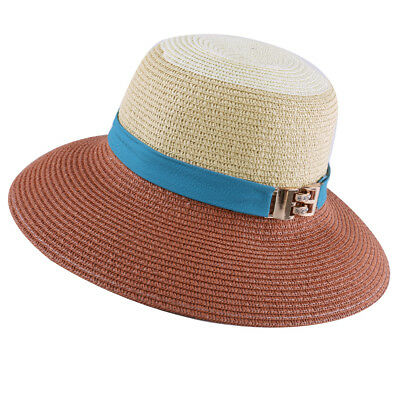 NEWS Ladies Metal Button Decor Color Blocking Leisure Hat Camel Beige