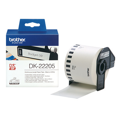 Brother Label DK-22205 DK22205 White Continuous Paper Roll 62mm x 30.48m QL570