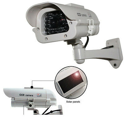 Solar Power Dummy Fake Outdoor Security Home CCD Camera w/30 Flashing LED Light