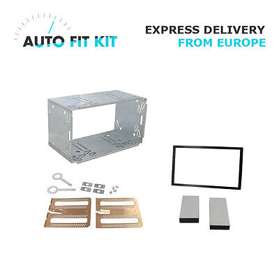 Universal 2 Din Double Din radio mounting cage sleeve with removal keys and trim