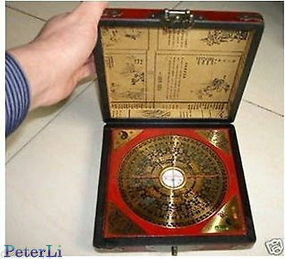 Rare Chinese Feng Shui compass with dragon wooden box+Gift