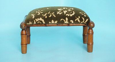 """7"""" Antique French Faux Bamboo Footstool Velour Floral Cover Olive Green Beige"""