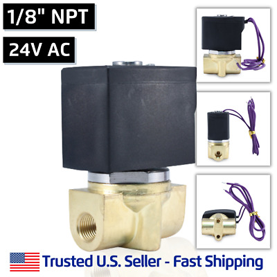 """1/8"""" 24V AC Electric Brass Solenoid Valve Water Air Gas 24 Volt - FREE SHIPPING"""