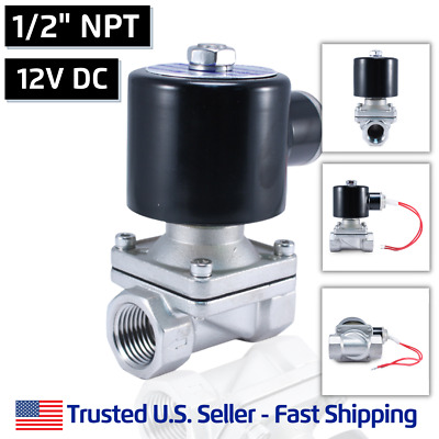"""1/2"""" NPT SS 12V DC Stainless Steel Electric Solenoid Valve Water Gas Air 12 VDC"""