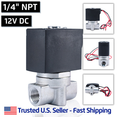 "1/4"" SS 12V DC Stainless Steel Electric Solenoid Valve Water Air Gas 12 Volt VDC"