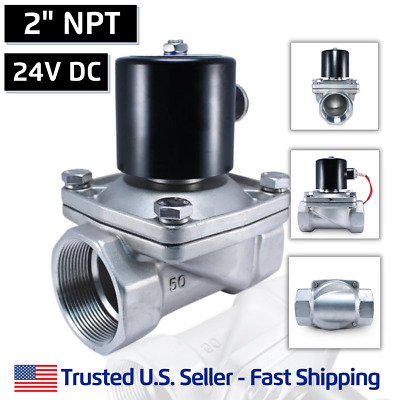 "2"" Inch SS 24V DC STAINLESS STEEL Electric Solenoid Valve Water  Gas 24 Volt VDC"