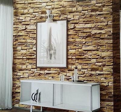 """3D Realistic Real Stacked Brick Stone Vinyl Background Wallpaper 20.8""""x393.7"""""""