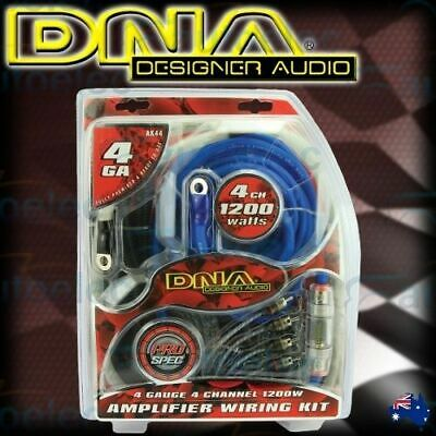 Dna 1200W 4 Channel 4 Guage Power Amplifier Amp Wiring Kit Car Wire Cable Ak44