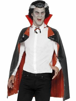 Vampire Cape Black Red Collar Halloween Mens Fancy Dress