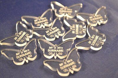 Personalised Clear Acrylic Love Butterfly Wedding Table Decoration Favours - Pac