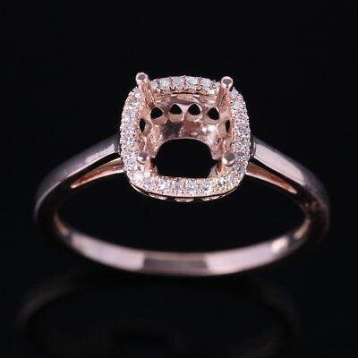 6mm Round/Cushion Semi Mount Natural Diamond Ring Setting Solid 10K Rose Gold