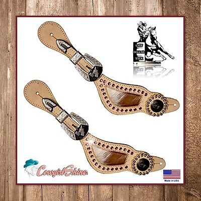 Ladies Western Spur Straps Lt. Oil Leather Pink Crystals With Chestnut & White
