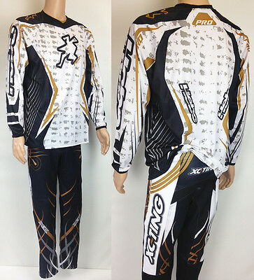 Hebo Xc-Ting Trials Pants + Jersey Evolution 3 Black White Gold Pro Jersey