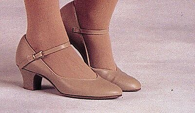"NEW/BOX Character Shoes ch/ladies Tan #3504 Leathersole 1.5"" heel Musicaltheater"