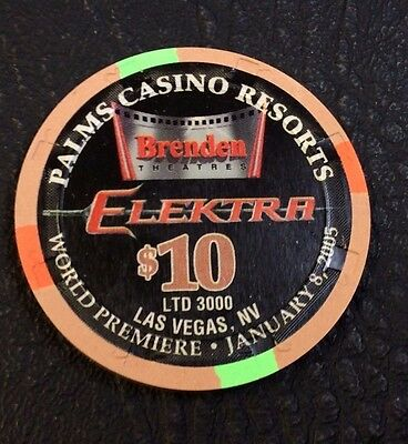 Palms $10 Casino Chip Las Vegas Nevada H&c Mold 2005 Elektra With Original Case