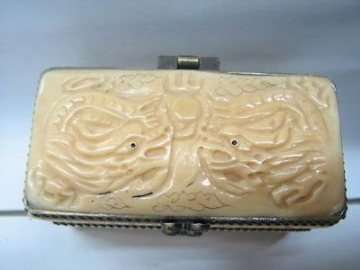 Nice Old Japanese Hand Carved double dragons jewelry box