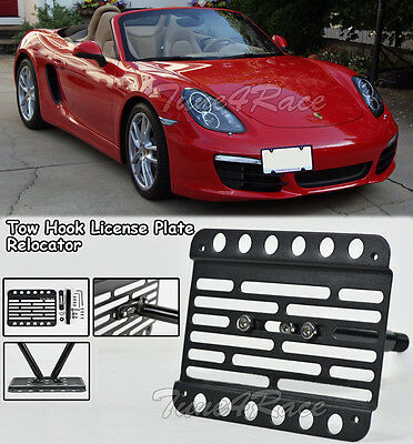 EOS Version 1 Mid Sized Front Bumper Tow Hook License Plate Relocator Mount Bracket for 15-Up Porsche Cayman GT4 ONLY 981 NO PDC Models 2015 2016 14 15 16 17