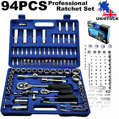 "94Pc 1/2"" 1/4"" Drive Metric Socket Set Ratchet Extension Mechanic Tool Kit 94Pcs"