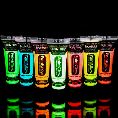 Glow in the Dark Body Paint leuchtende Körperfarbe Malfarbe Körperkunst UV NEU