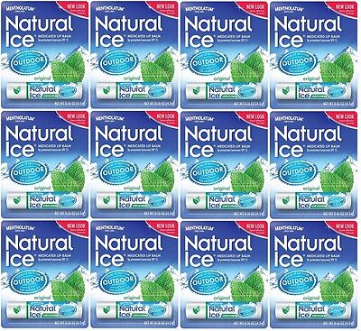 Lot Of 12 Mentholatum Natural Ice Medicated Original Spf 15 Lip Protectant Balm