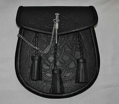 New Black Scottish Celtic Knot Highlander Pin Drop Sporran Bag with Belt
