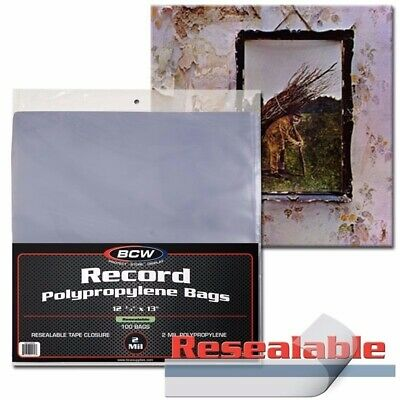 Pack of 100 RESEALABLE RECORD SLEEVES Plastic Outer Vinyl LP Album BCW NEW