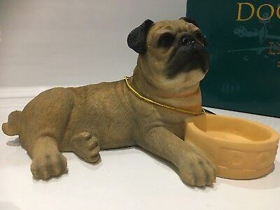 Fawn Pug With Bowl Ornament Dog Gift Figure Figurine