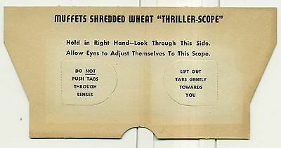 """1950's Muffets Shredded Wheat """"Thriller-Scope"""" with 17 Diffent Cards"""