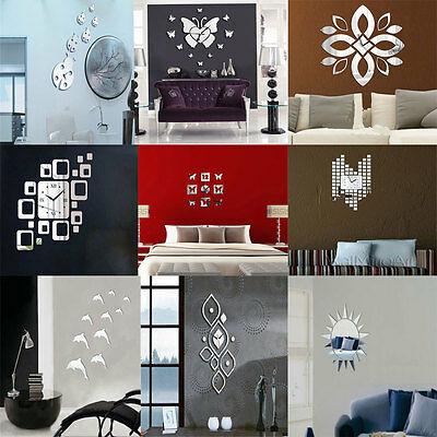 DIY Wall Clock 3D Crystal Mirror Living Room Gift sticker Home Modern Decoration