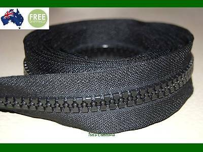 No 10, Black Heavy Duty Chunky Teeth Sewing on Tent, Open End Zip, 122cm
