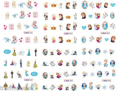 Nail art water decals wraps transfers stickers Frozen Tangled Elsa Anna Princess