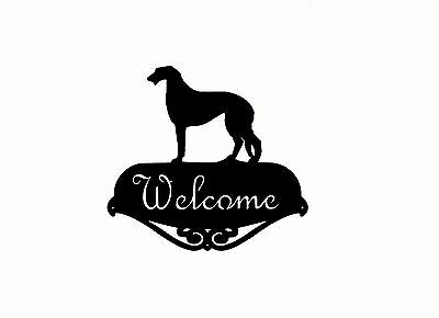 Scottish Deerhound Welcome Script Sign Silhouette Steel Metal Painted USA Made