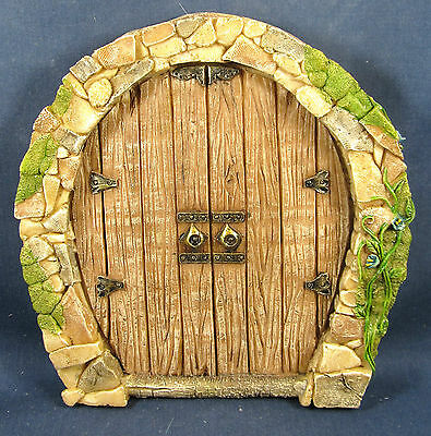 Enchanted Fairy Double Door Stone Front w/oak planks Garden Fantasy Collection