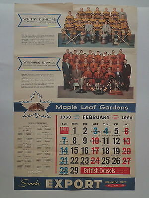 Maple Leaf Gardens Export Vintage Hockey Calendar Only 1 Page February 1960