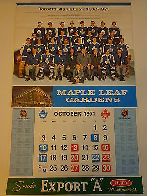 Toronto Maple Leafs Vintage Hockey Calendar All Pages 1971-1972 NHL Export A NM