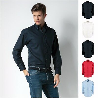 Mens Long Sleeve Oxford Shirt Business Work Smart Formal Casual Dress Shirt