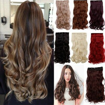 New Long Mega Thick Straight Curly Real Half Full Head Clip in Hair Extensions z