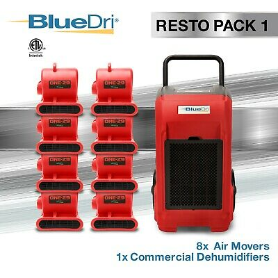 BlueDri® Resto Pack 1 | 1 BD76 Commercial Dehumidifiers 8 One-29 Air Movers  Red