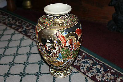 Vintage Chinese Japanese Royal Satsuma Moriage Vase-#2-Faces-Beaded Dragon-Markd