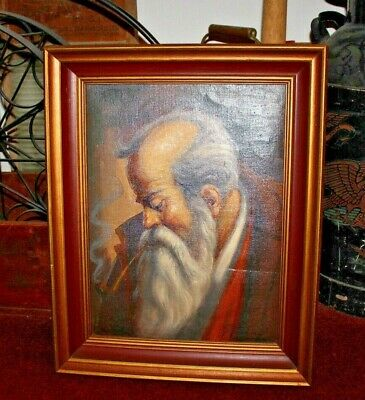Superb Oil Painting On Canvas-Long Bearded Man Smoking Pipe Portrait-Signed