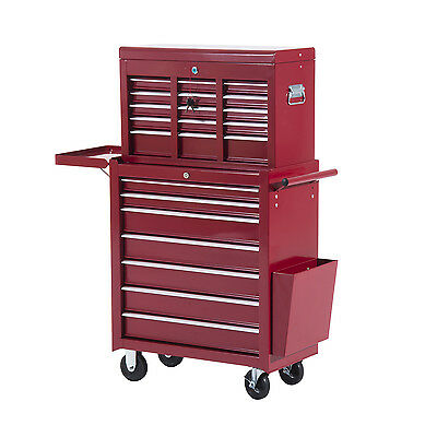 HOMCOM Toolbox Tool Cabinet Storage Cart Top Chest Case w/ Wheel 16 Drawers