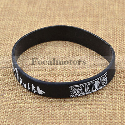 Anime One Piece Black Silicon Wristband Unisex Cosplay Valentine's Gift 1Pc