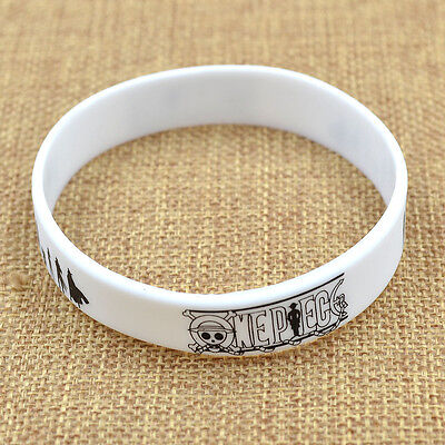 Anime One Piece  Silicon Wristband Black White Bracelet New Free Shipping