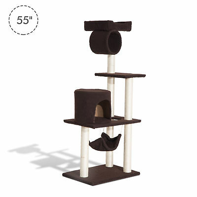 """PawHut 55"""" Scratching Cat Tree Pet Kitty House Furniture Condo Post Bed New"""