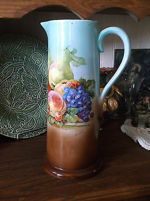 """Antique Tankard Pitcher Beautiful Color Signed - Maker Unknown 12 5/8"""""""